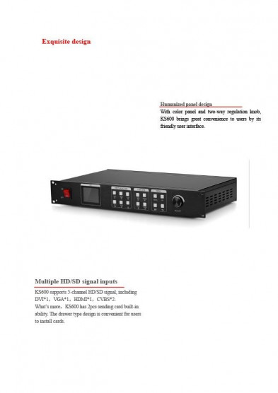 HD LED VIEDEO PROCESSOR KS600